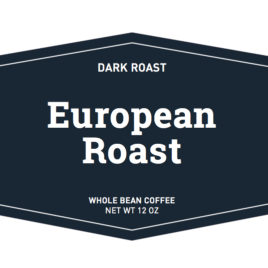 dark roast european roast whole bean coffee label
