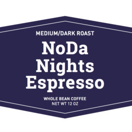medium to dark roast noda nights espresso whole bean coffee label