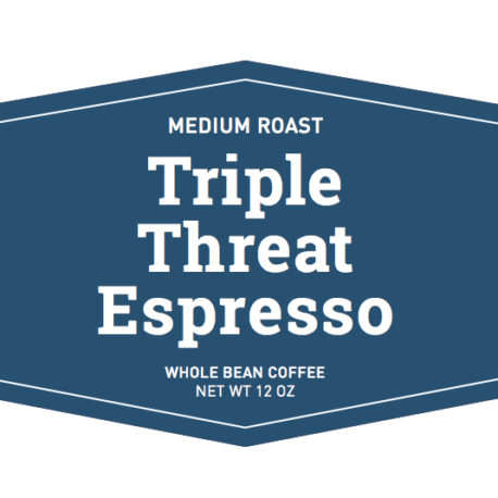 medium roast triple threat espresso whole bean coffee label