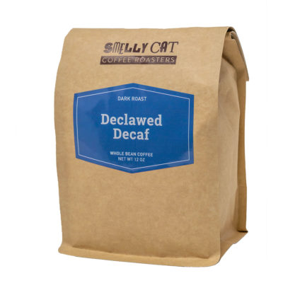 12 ounce bag of Declawed Decaf coffee beans