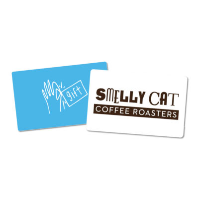 two example gift cards for smelly cat coffeehouse in charlotte